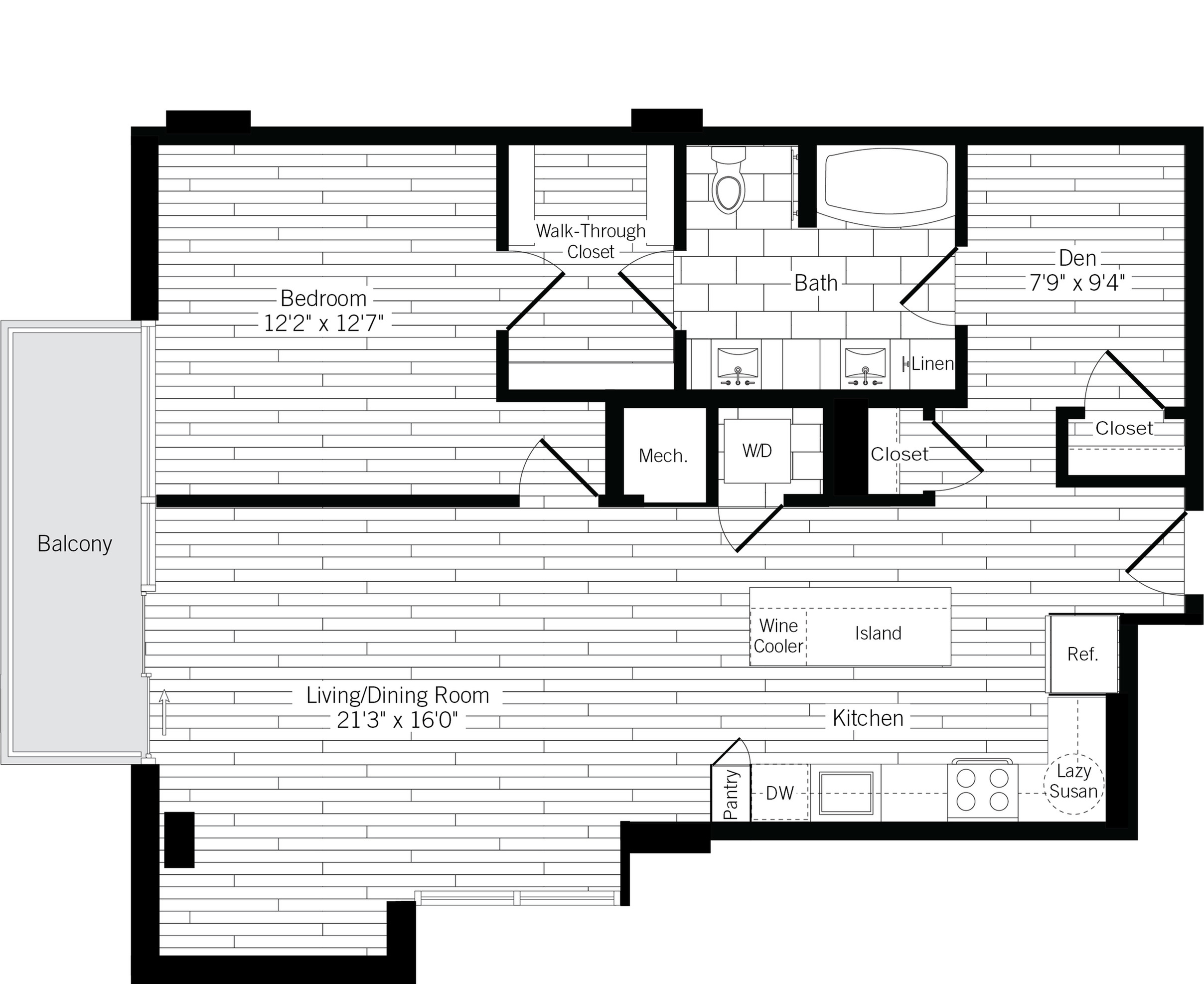 1012 square foot one bedroom one bath with den apartment floorplan image