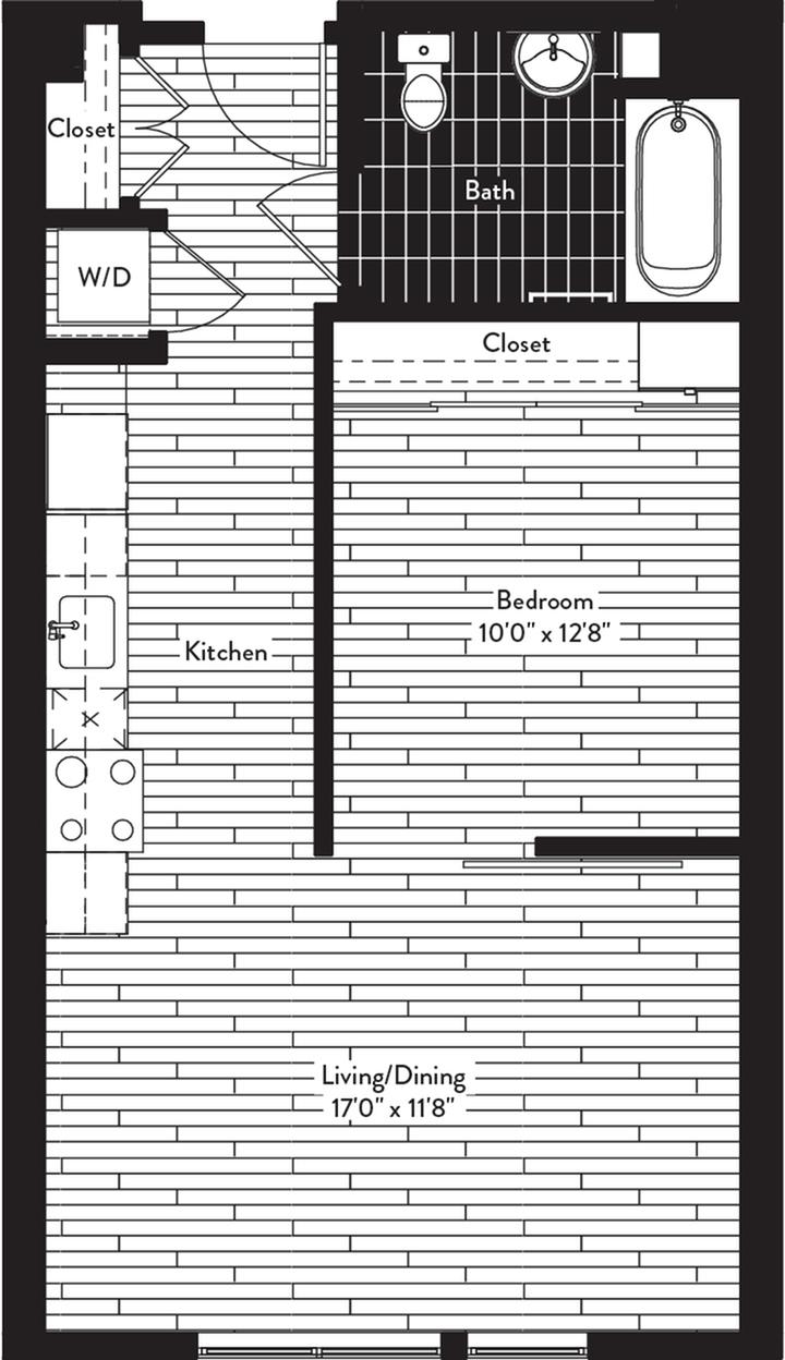 585 square foot one bedroom one bath floor plan image