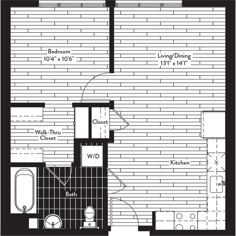 595 square foot one bedroom one bath floor plan image