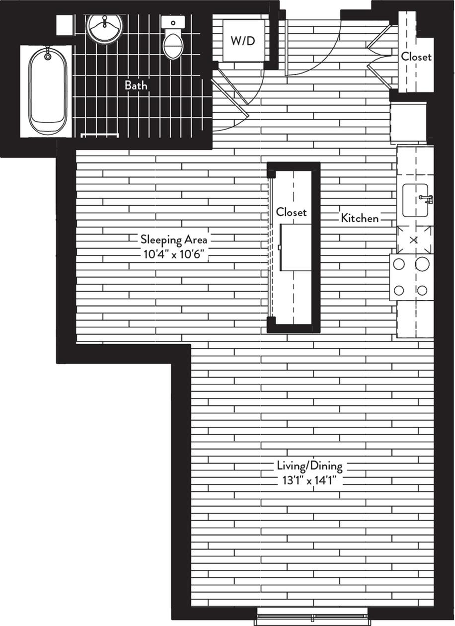 600 square foot one bedroom one bath floor plan image