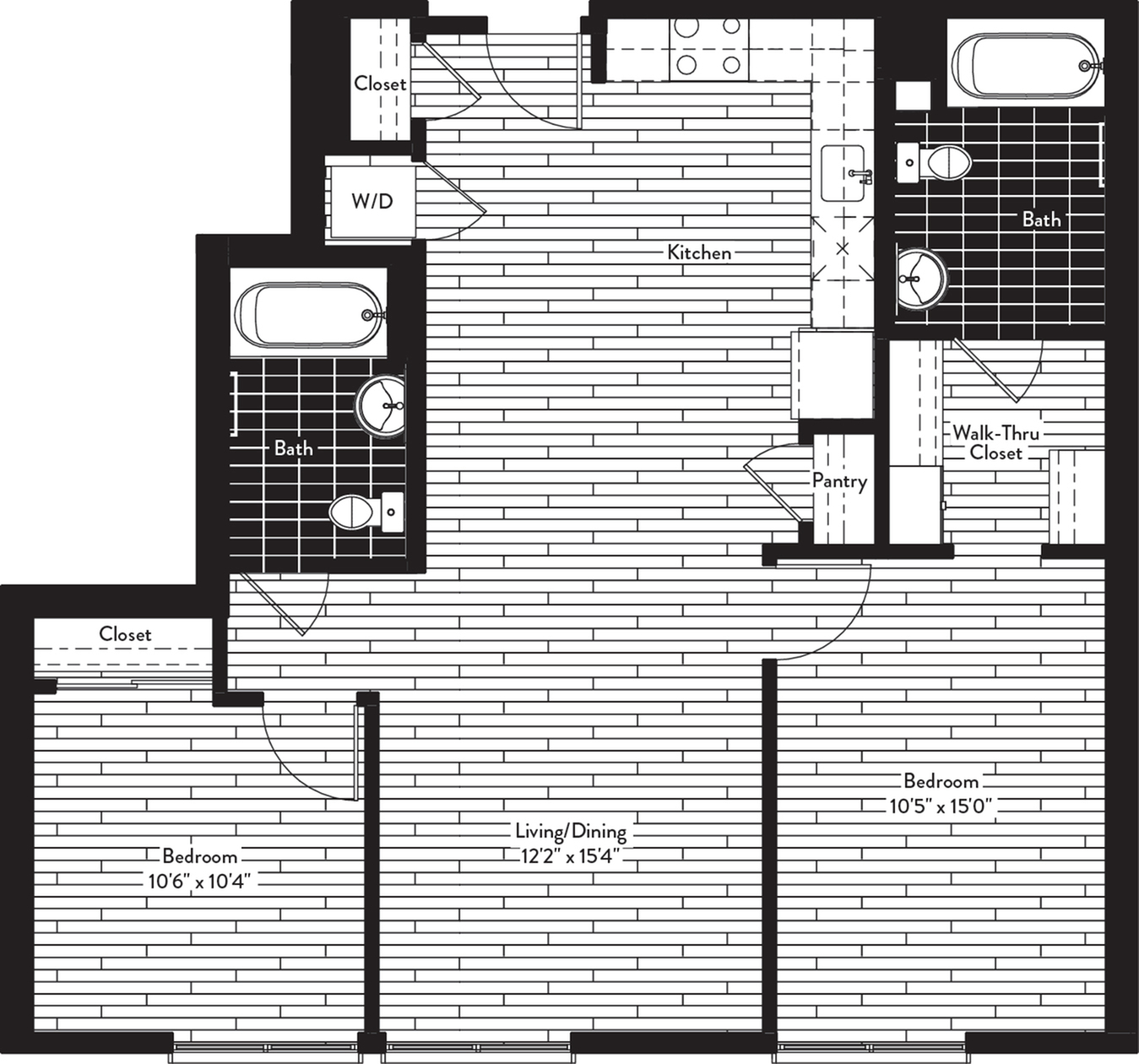 1005 square foot two bedroom two bath floor plan image