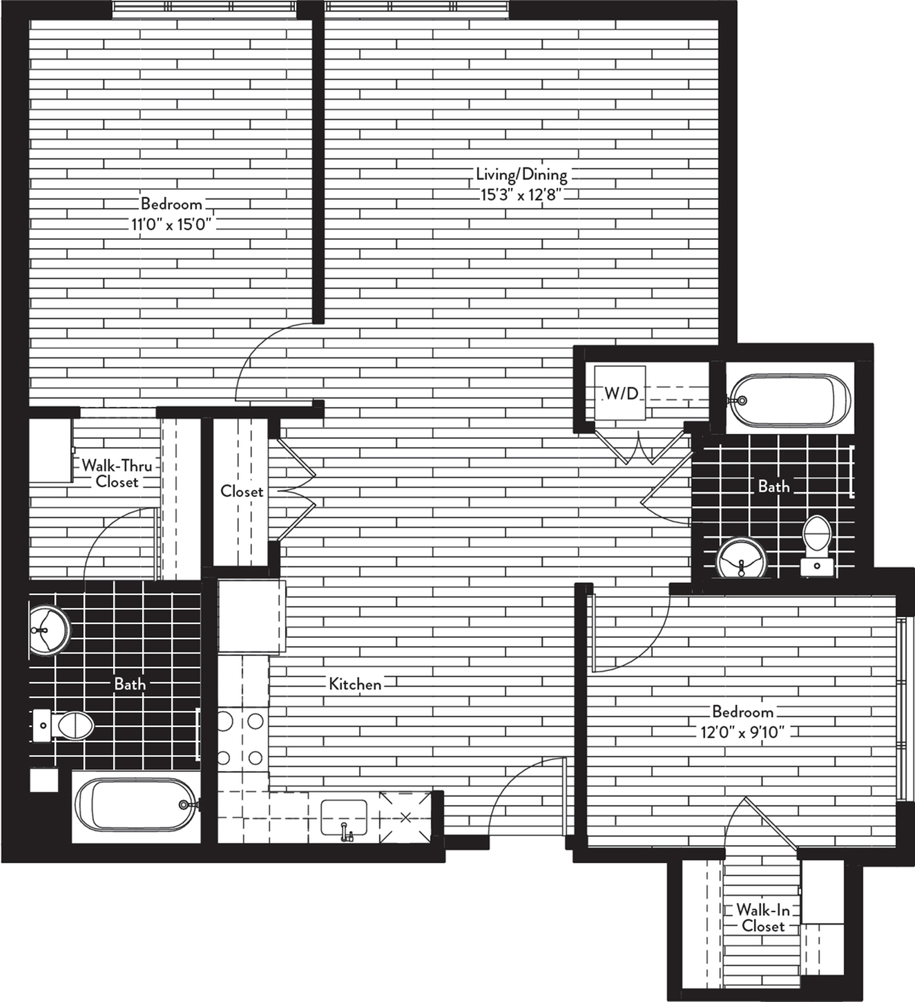 1069 square foot two bedroom two bath floor plan image