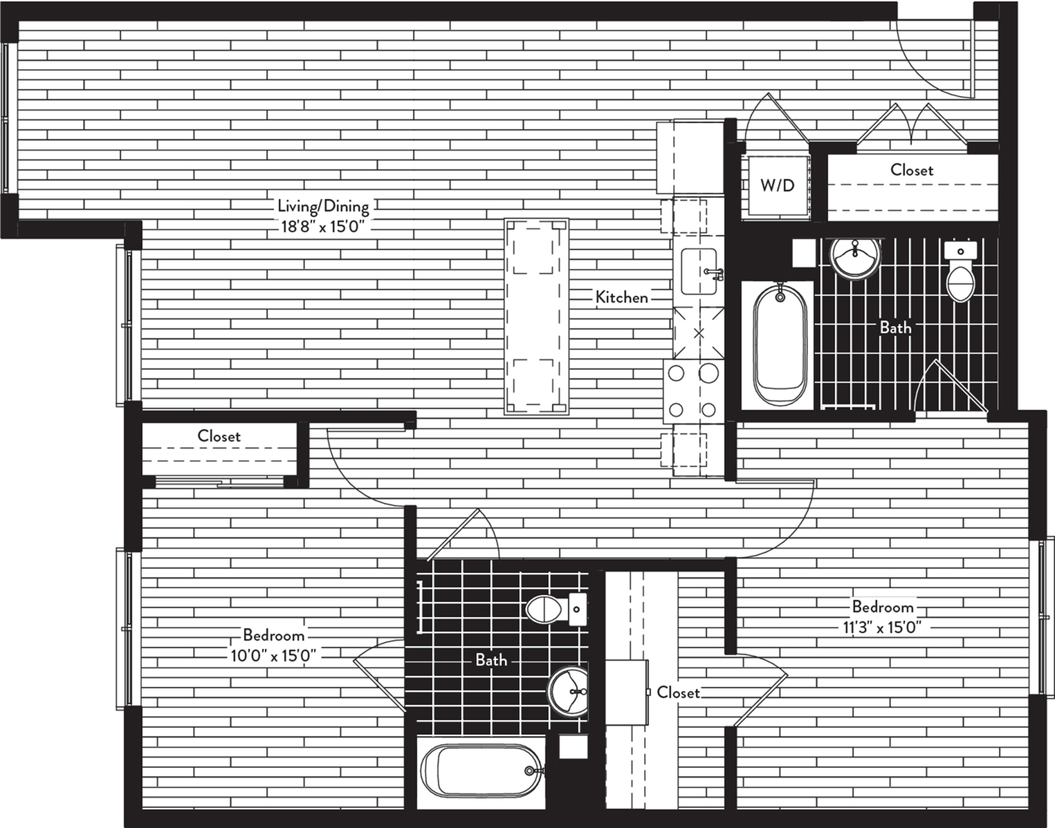 1081 square foot two bedroom two bath floor plan image