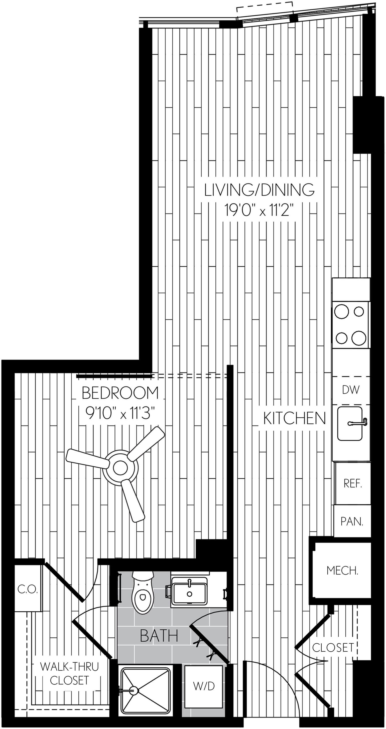 596 square foot one bedroom one bath apartment floorplan image