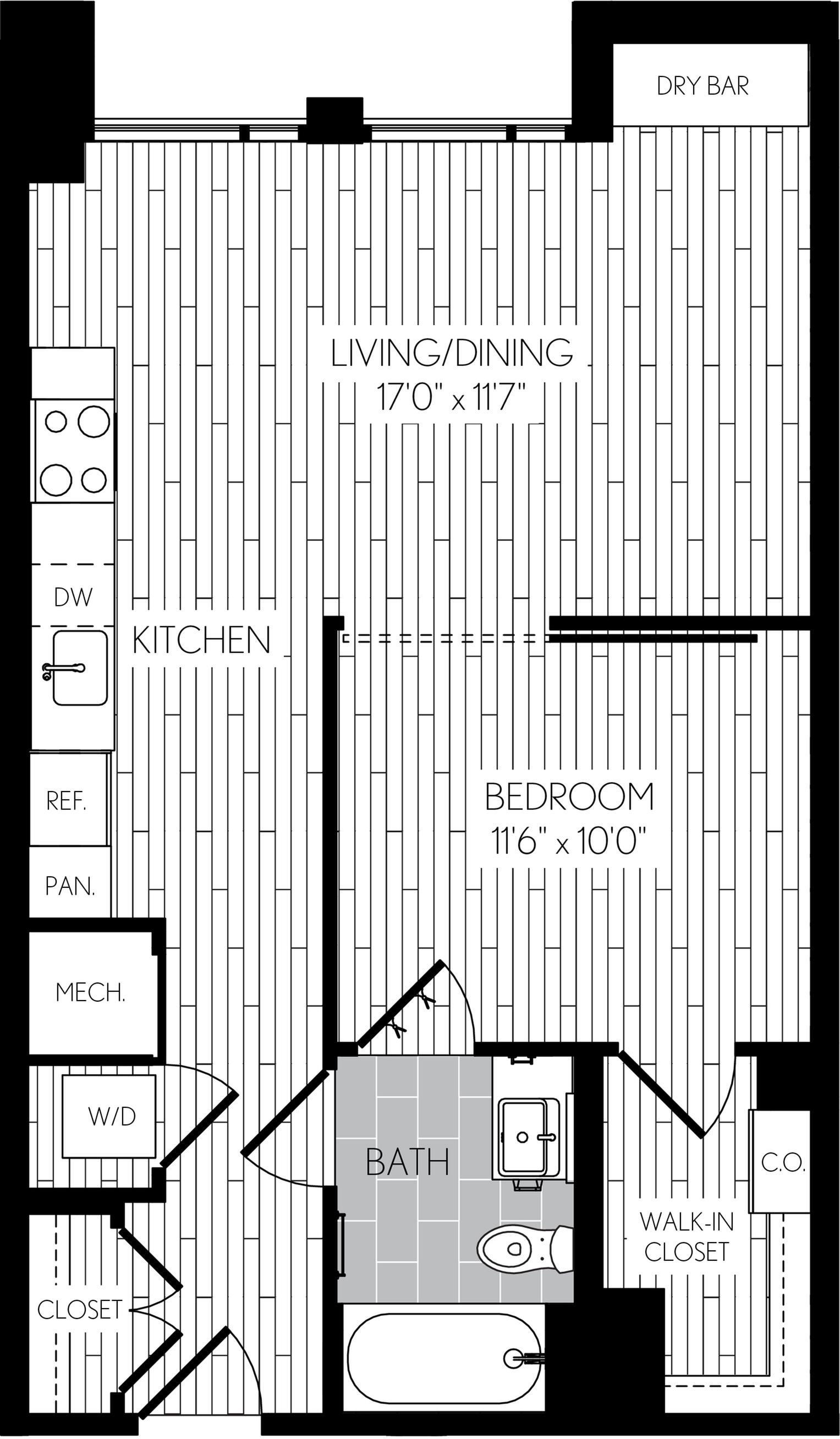 649 square foot one bedroom one bath apartment floorplan image