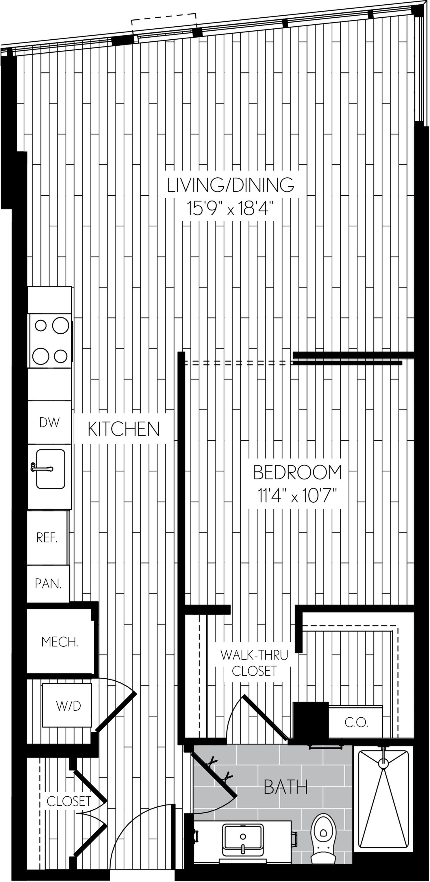 744 square foot one bedroom one bath apartment floorplan image