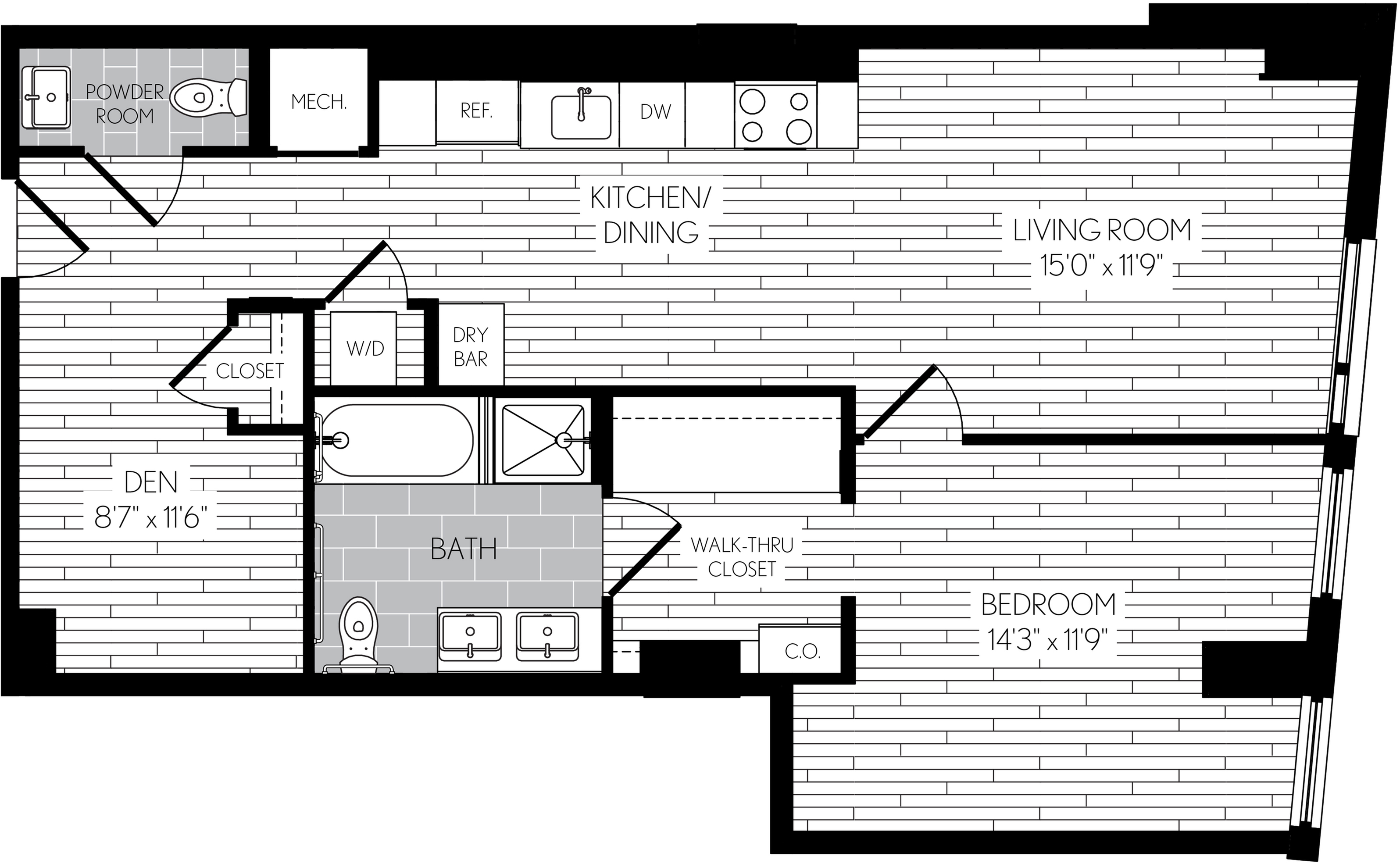 890 square foot one bedroom one and a half bath with den apartment floorplan image
