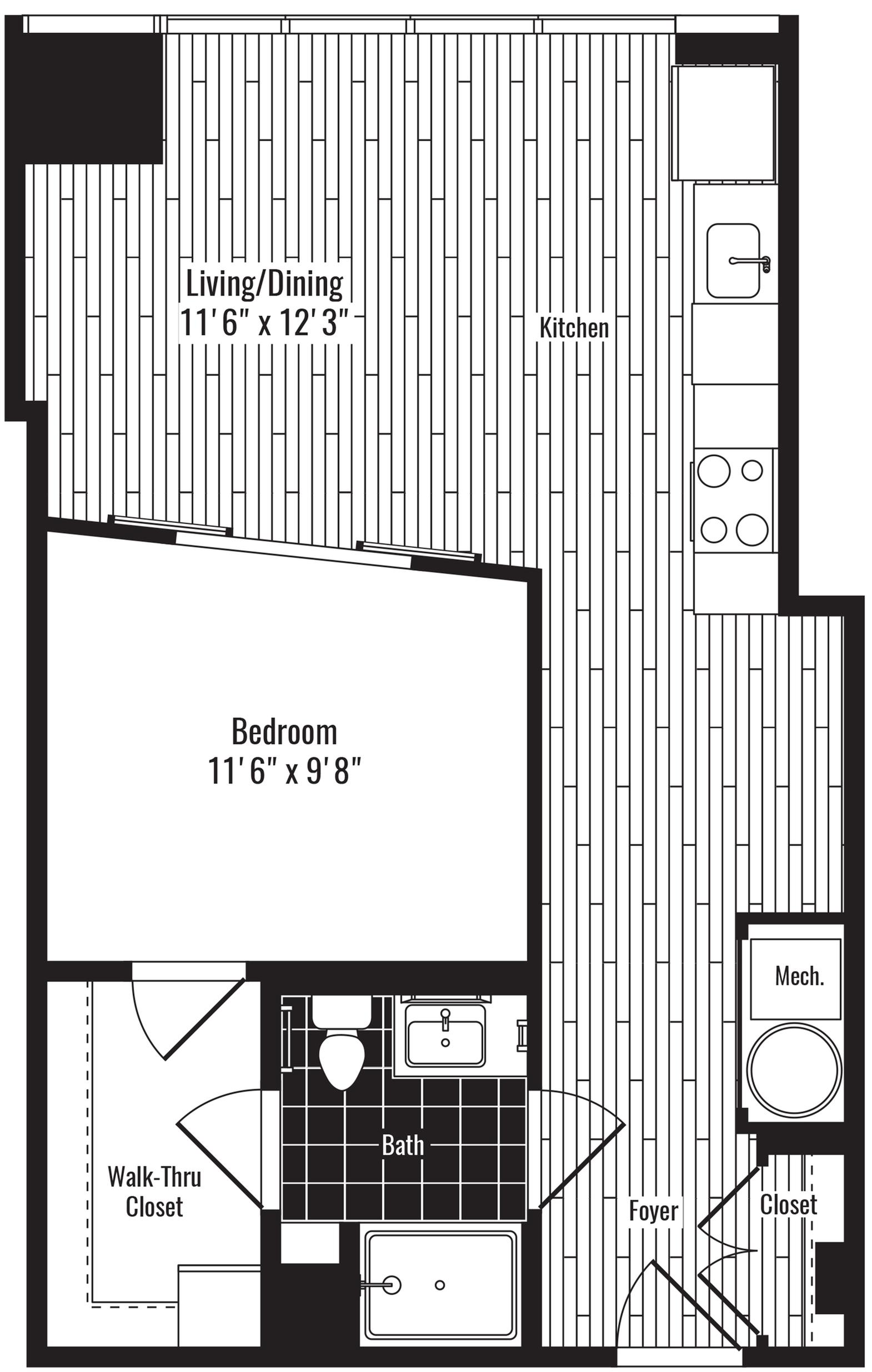 634 square foot one bedroom one bath apartment floorplan image