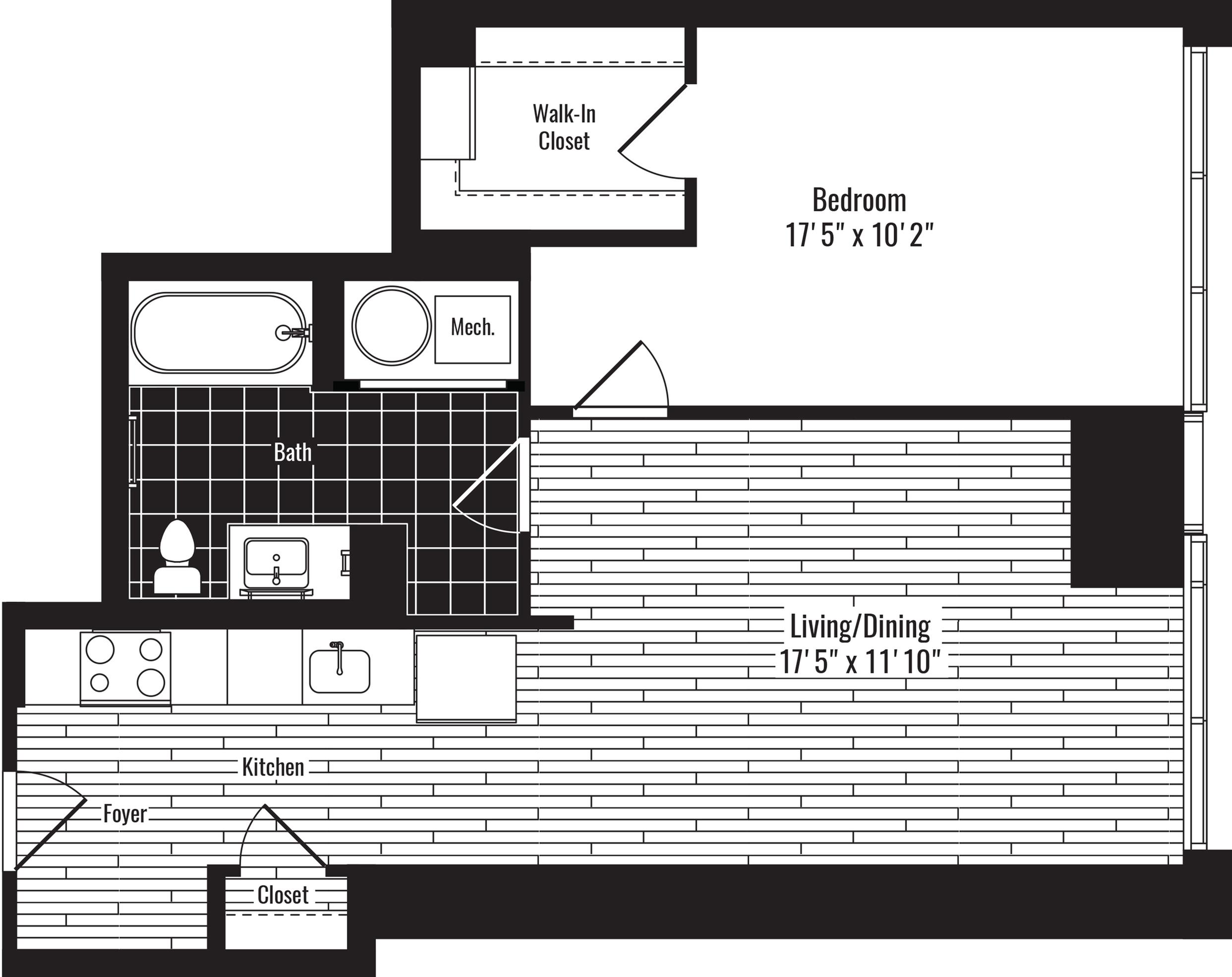 683 square foot one bedroom one bath apartment floorplan image