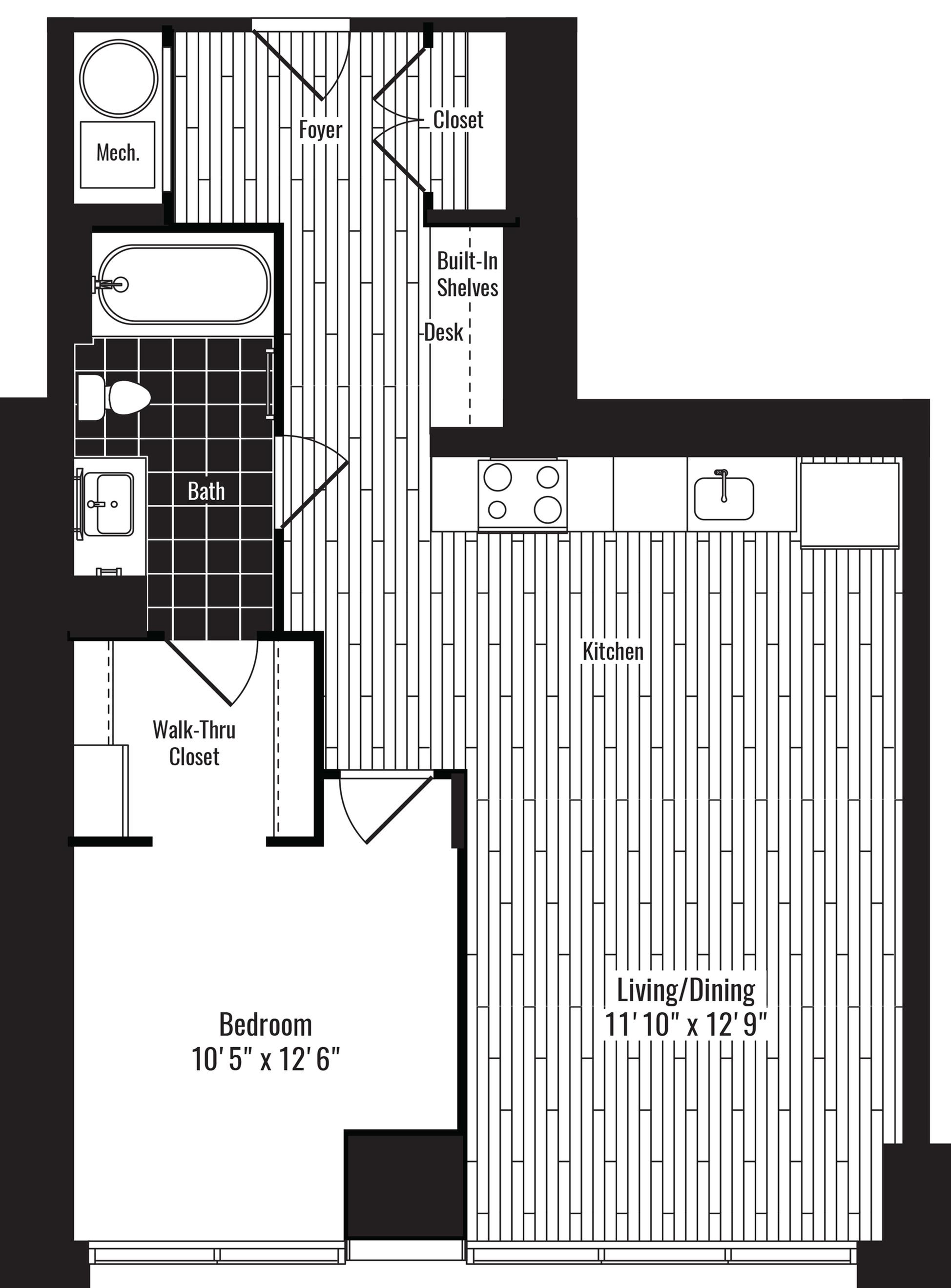 697 square foot one bedroom one bath apartment floorplan image