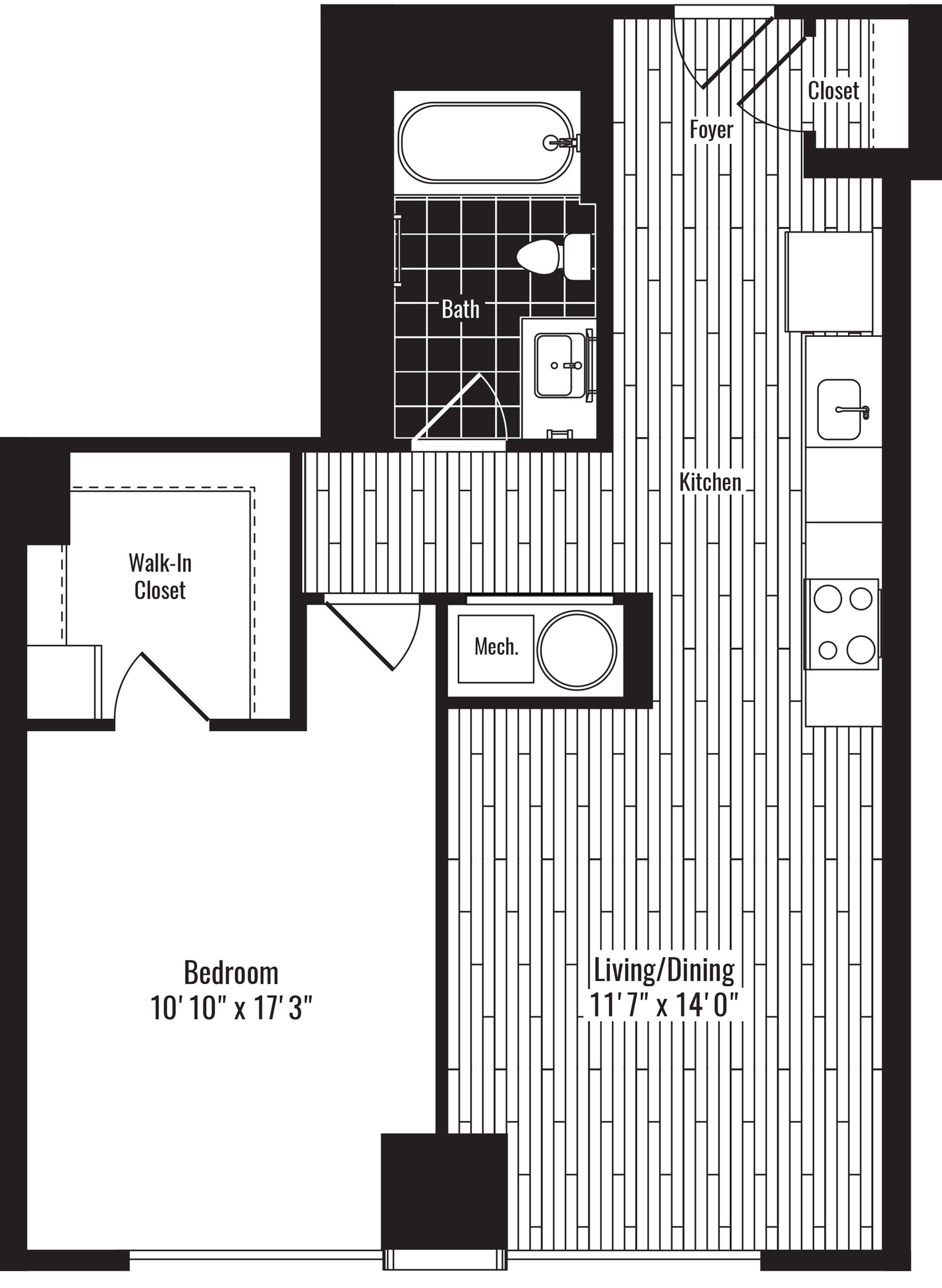 708 square foot one bedroom one bath apartment floorplan image