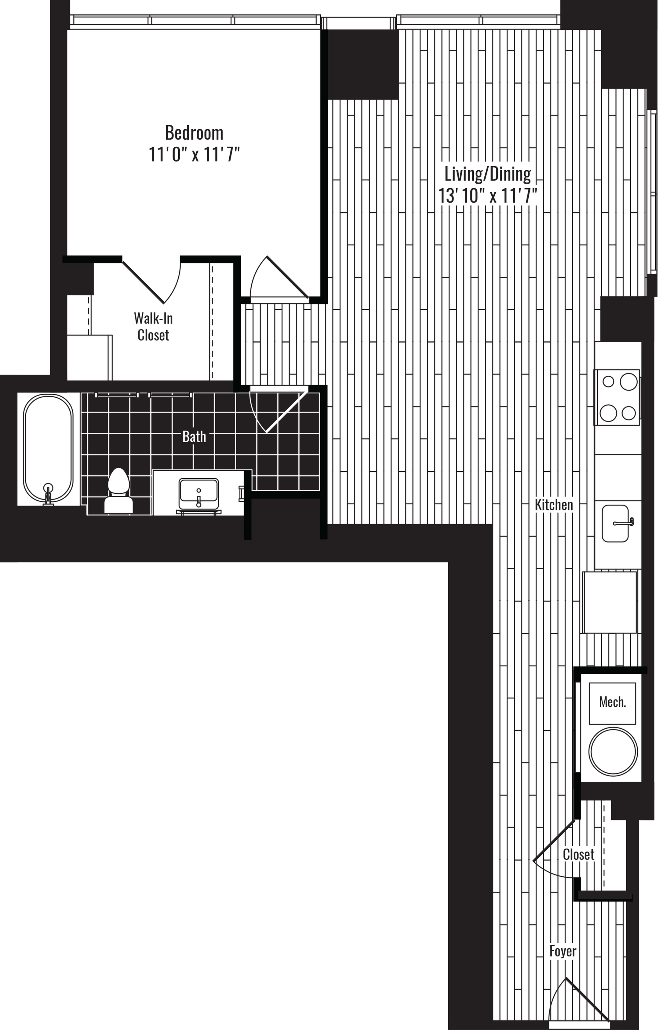 763 square foot one bedroom one bath apartment floorplan image