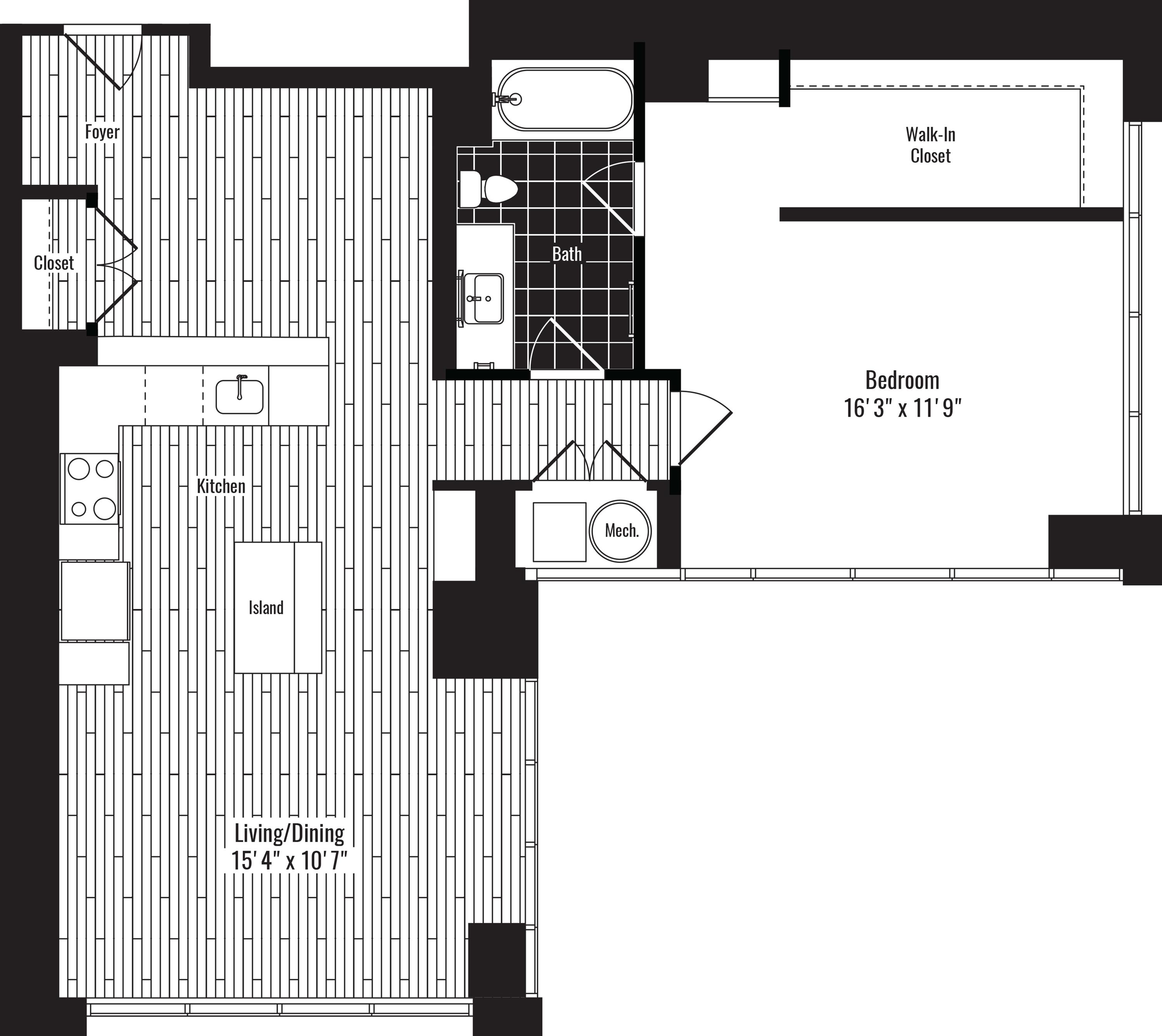 975 square foot one bedroom one bath apartment floorplan image