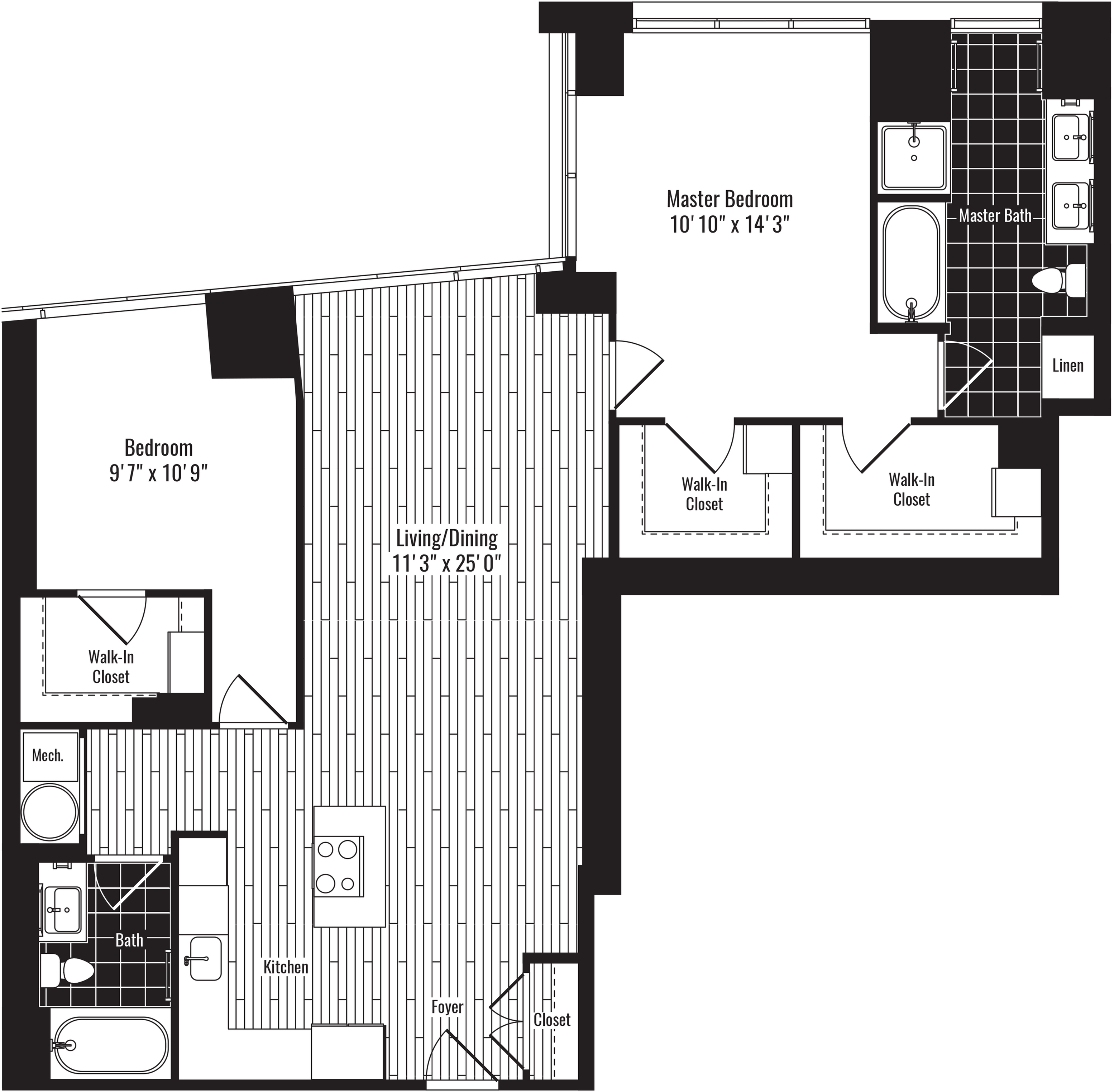 1276 square foot two bedroom two bath apartment floorplan image