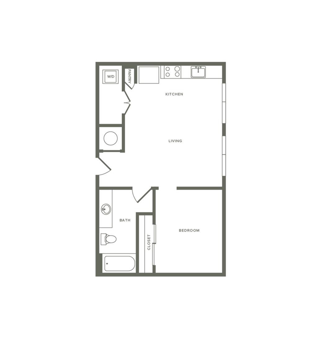 599 square foot one bedroom one bath apartment floorplan image