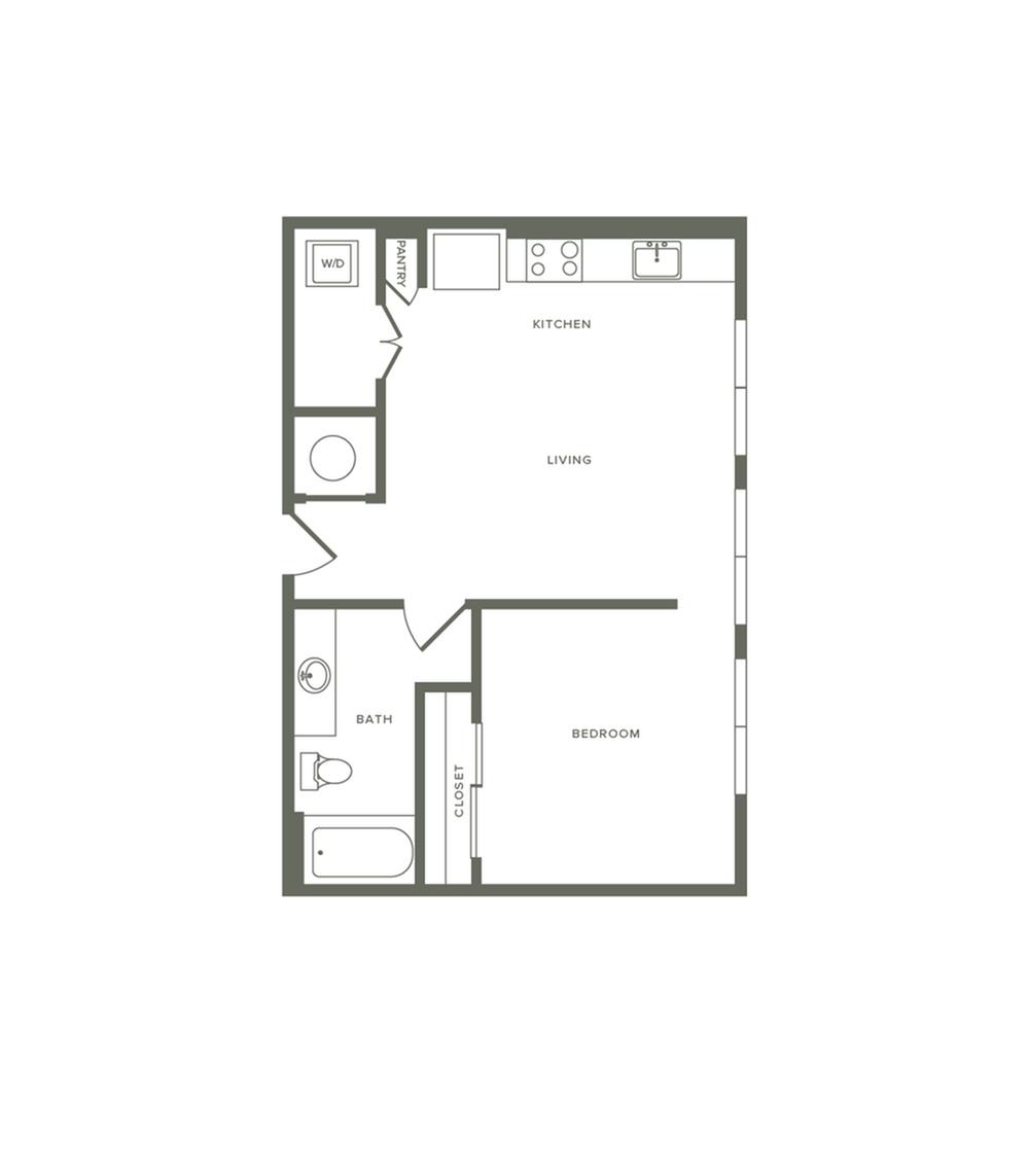 615 square foot one bedroom one bath apartment floorplan image