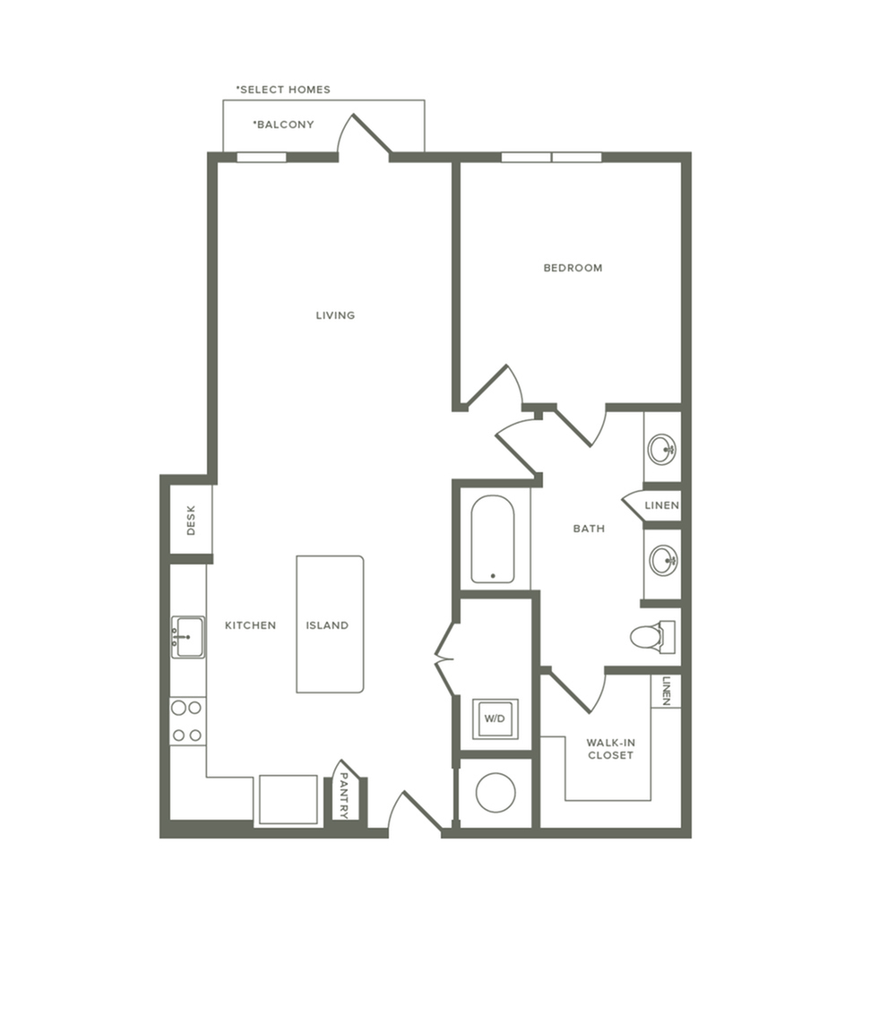 857 square foot one bedroom one bath apartment floorplan image