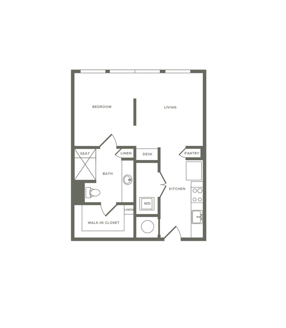 581 square foot one bedroom one bath apartment floorplan image