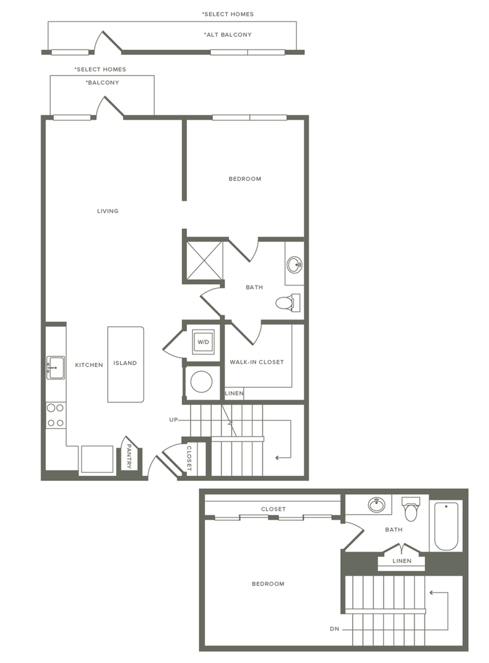 1114 square foot two bedroom two bath two story apartment floorplan image