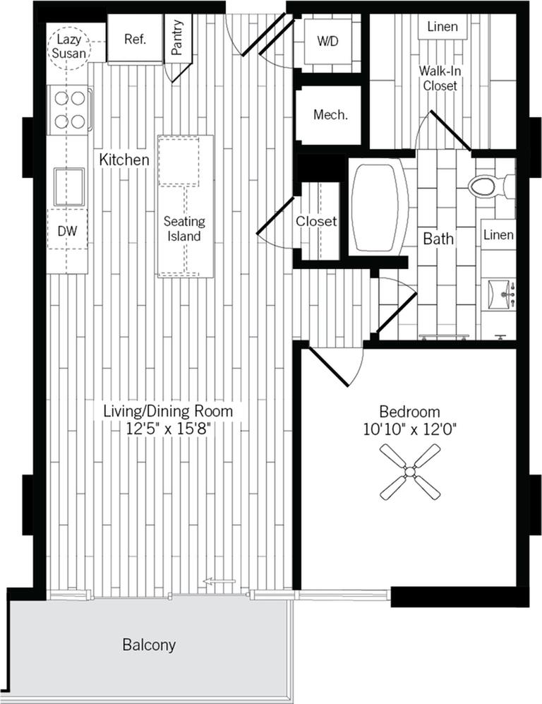 755 square foot one bedroom one bath apartment floorplan image