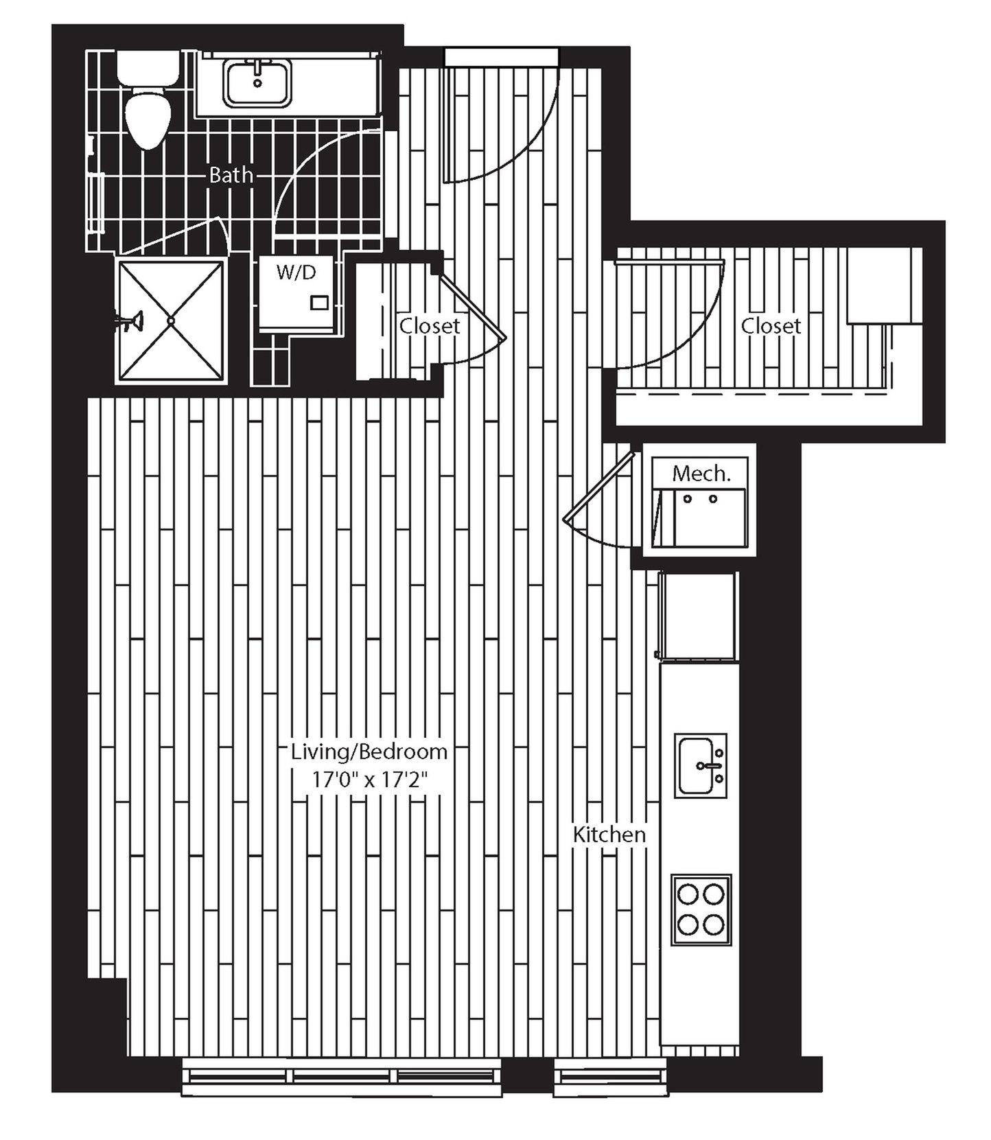 492 square foot studio one bath floor plan image