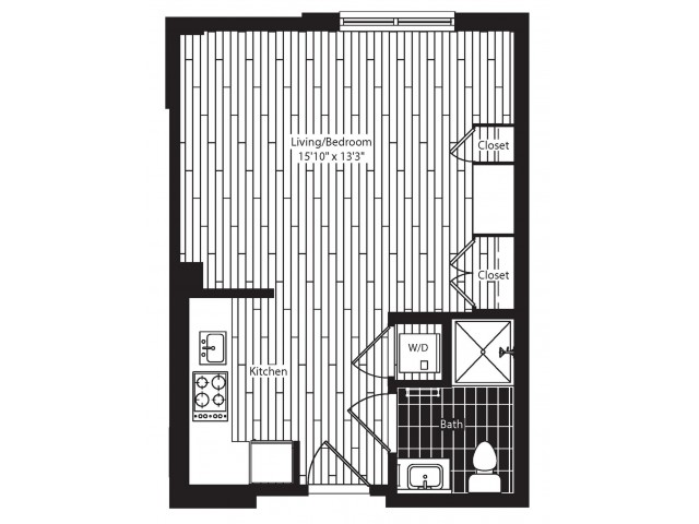 385 square foot studio one bath floor plan image