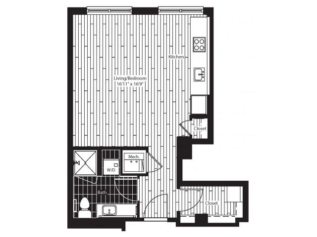 487 square foot studio one bath floor plan image