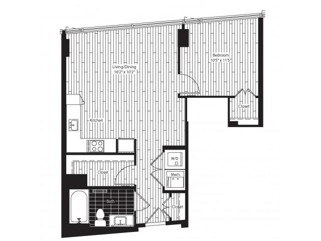 669 square foot one bedroom one bath apartment floorplan image
