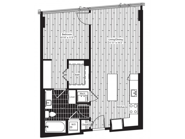 712 square foot one bedroom one bath dry bar apartment floorplan image