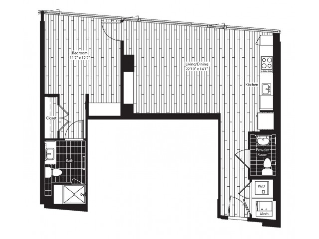 750 square foot one bedroom one and a half bath apartment floorplan image