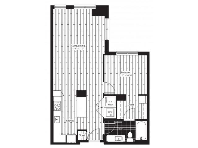 751 square foot one bedroom one bath apartment floorplan image