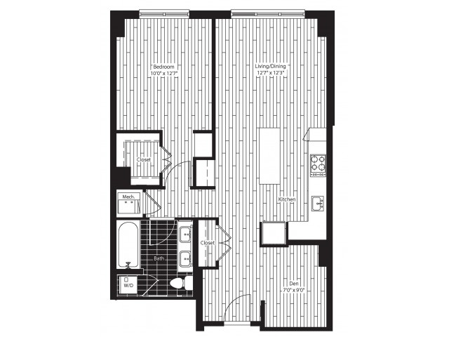 824 square foot one bedroom one bath with den apartment floorplan image