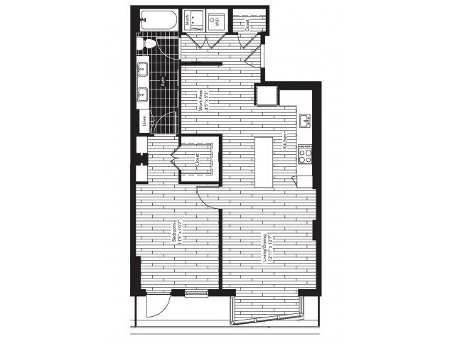 831 square foot one bedroom one bath apartment floorplan image