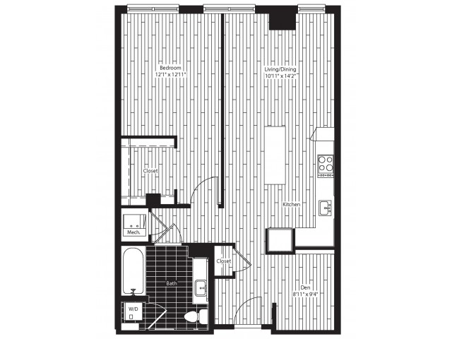 848 square foot one bedroom one bath with den apartment floorplan image