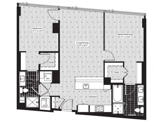 1069 square foot two bedroom two bath apartment floorplan image