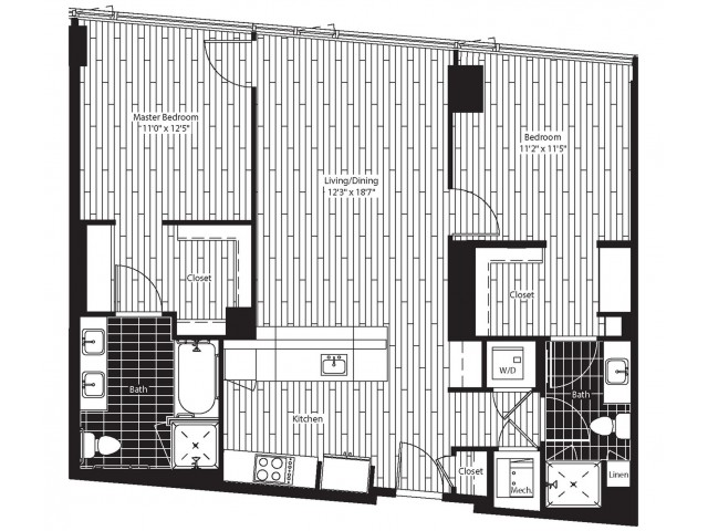 1069 square foot two bedroom two bath angled kitchen apartment floorplan image