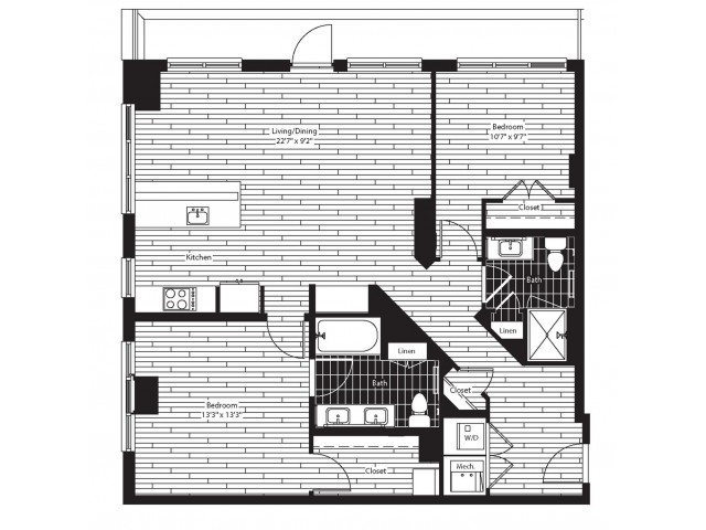 1126 square foot two bedroom two bath apartment floorplan image