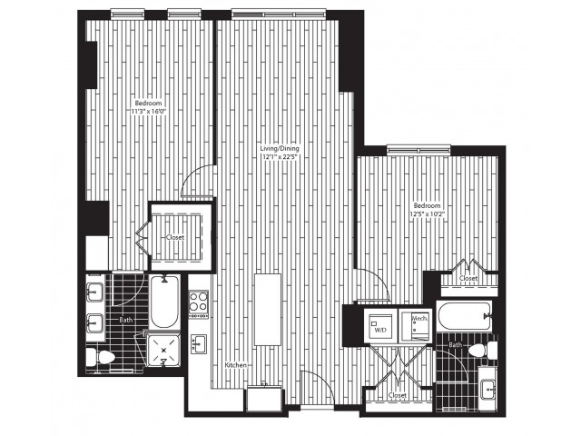 1130 square foot two bedroom two bath apartment floorplan image