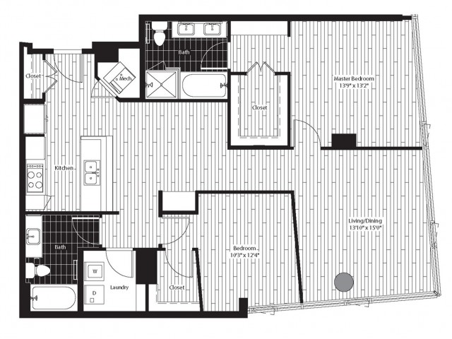 1262 square foot two bedroom two bath apartment floorplan image