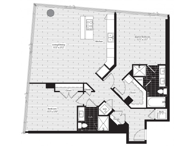 1291 square foot two bedroom two bath apartment floorplan image