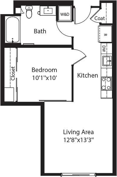 520 square foot one bedroom one bath apartment floorplan image