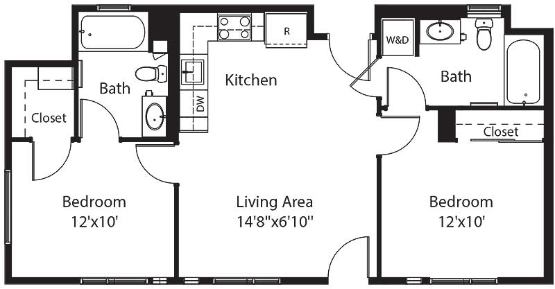 762 square foot two bedroom two bath apartment floorplan image