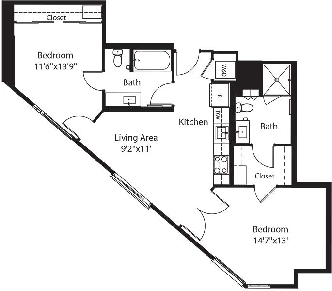 760 square foot two bedroom two bath apartment floorplan image