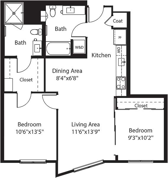 829 square foot two bedroom two bath apartment floorplan image