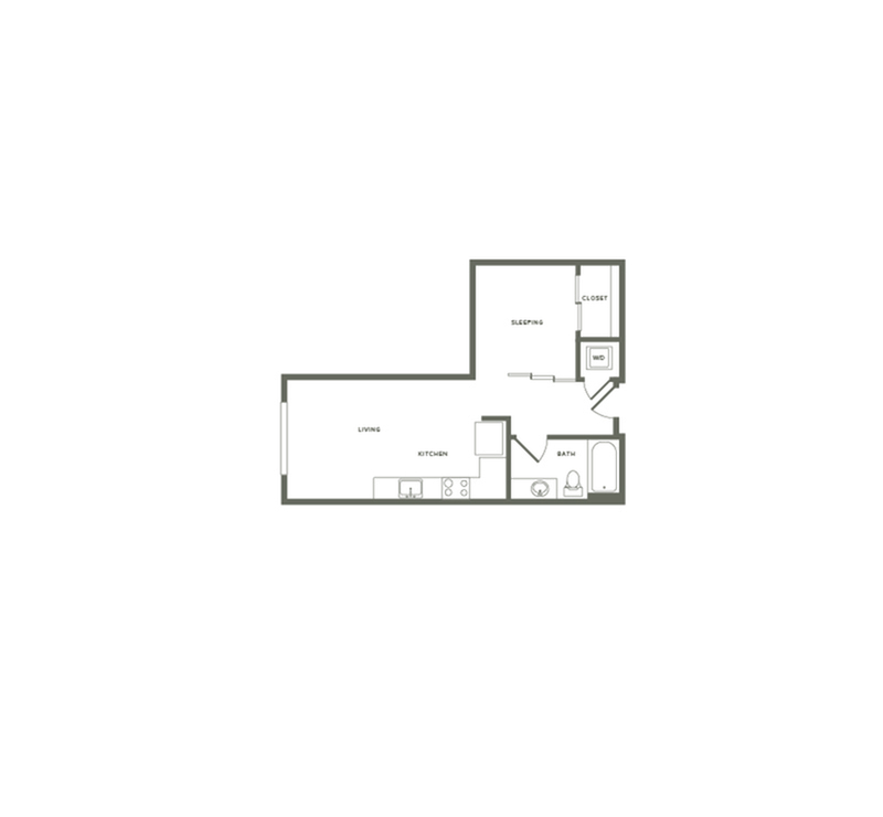 531 square foot one bedroom one bath floor plan image