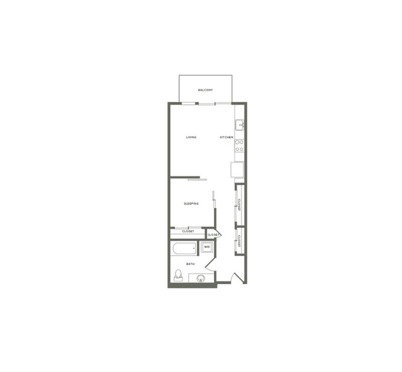 596 square foot one bedroom one bath floor plan image