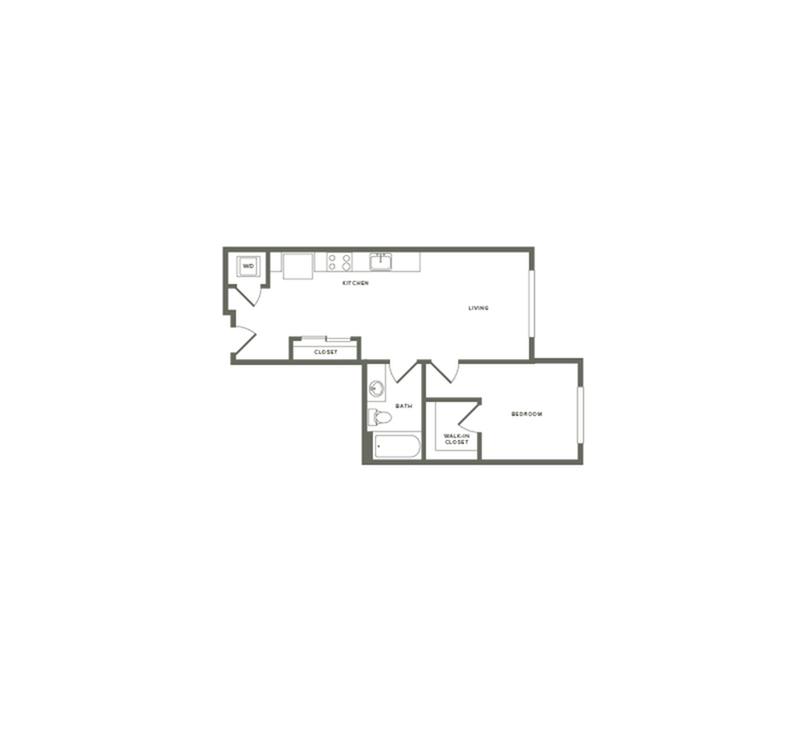 606 square foot one bedroom one bath floor plan image