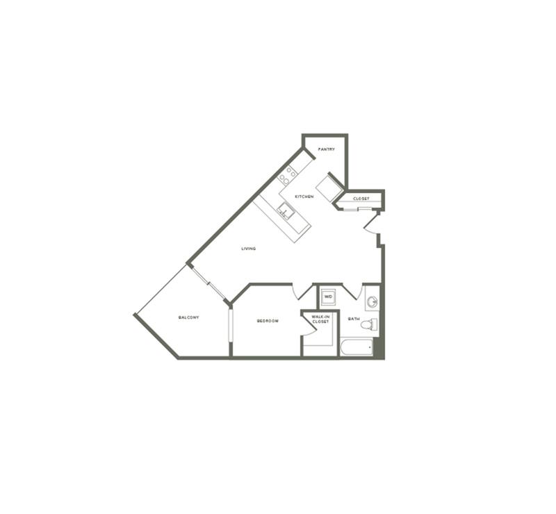 670 square foot one bedroom one bath floor plan image