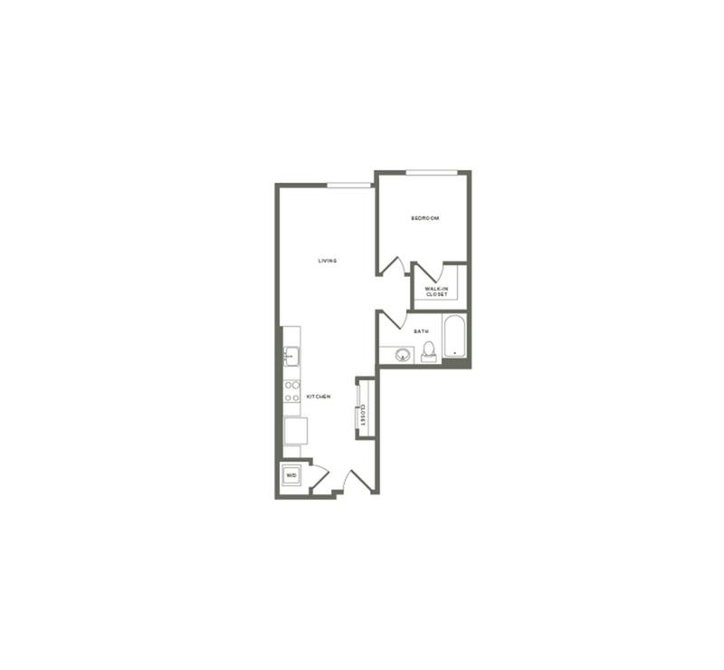 640 square foot one bedroom one bath floor plan image