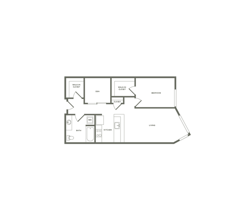 882 square foot one bedroom one bath with den floor plan image